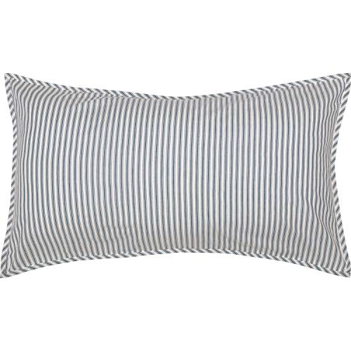VHC Brands Farmhouse Bedding Miller Farm Charcoal Ticking Cotton Striped King Sham Blue Denim