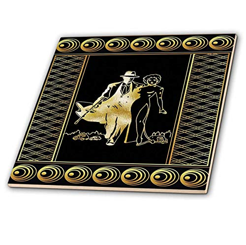 (3dRose lens Art by Florene - Art Deco - Image of Gangster With Gun And His Babe in Art Deco Style - 6 Inch Ceramic Tile (ct_313433_2) )