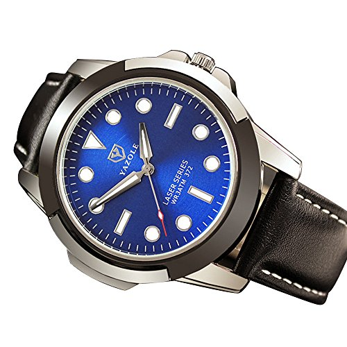 Men Quartz Watch,Hotkey Men's Wrist Watch Army Classic Quartz Wrist Business Analog Watch,Round Dial Case,Stable YAZOLE Band CS90 (Black and blue)