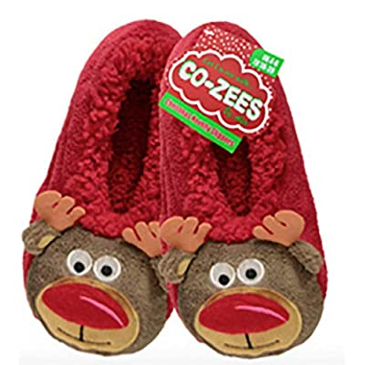 Co-Zees Christmas Super Soft 3D Slippers, Santa, Rudolf, Reindeer and Snowman Designs (5-7 Adults, Red Rudolph) | Slippers