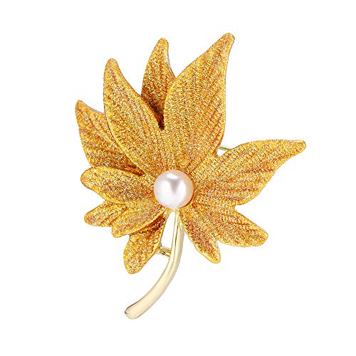 Brooch Yellow Leaf Gold - G&S Brooches Yellow Maple Leaf Brooch Lapel Pin for Women Girls Pullover Suit Tippet Accessories