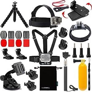 Luxebell Accessories Kit for AKASO EK5000 EK7000 4K WIFI Action Camera Gopro Hero 6 5/Session 5/Hero 4/3+/3/2/1 (14 Items)