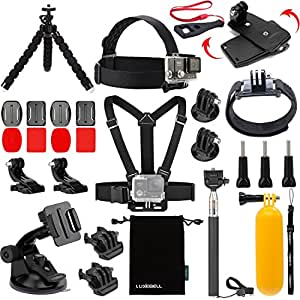 Luxebell Accessories Kit for AKASO EK5000 EK7000 4K WIFI Action Camera Gopro Hero 6 5/Session 5/Hero 4/3+/3/2/1 (14 Items)