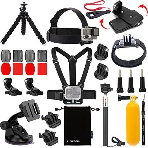 Luxebell Accessories Kit for AKASO EK5000 EK7000 4K WIFI Action Camera Gopro Hero 6 5/Session 5/Hero 4/3+/3/2/1 (14 Items) (4 2 2 Camcorder)