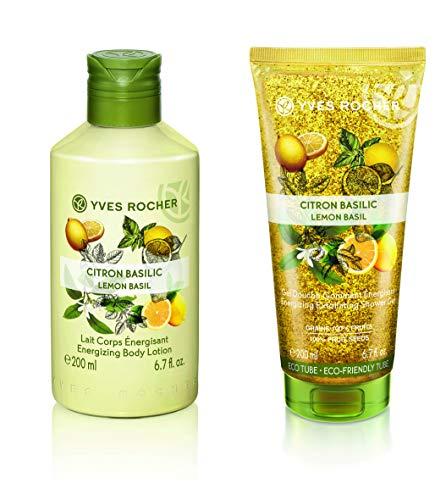 Yves Rocher Les Plaisirs Nature Energizing Body Lotion - Lemon Basil, 200 ml./6.7 fl.oz. + Yves Rocher Les Plaisirs Nature Energizing Exfoliating Shower Gel - Lemon Basil, 200 ml./6.7 fl.oz.
