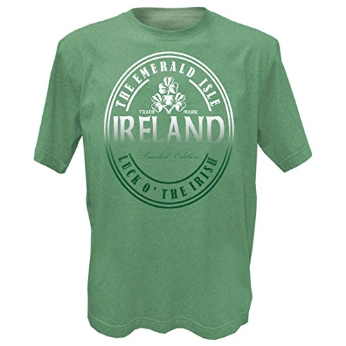 Green Grindle Designed T-Shirt with Ireland The Emerald Isle Luck O' The Irish Text by Carrolls Irish Gifts (Image #1)