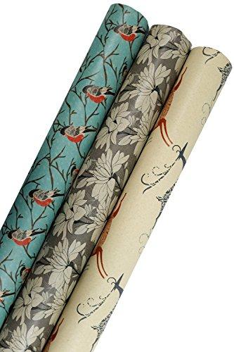 Printed Kraft Christmas Wrapping Paper (Elegant Snow Birds-Deer-Ice Flowers on Brown Kraft) 30