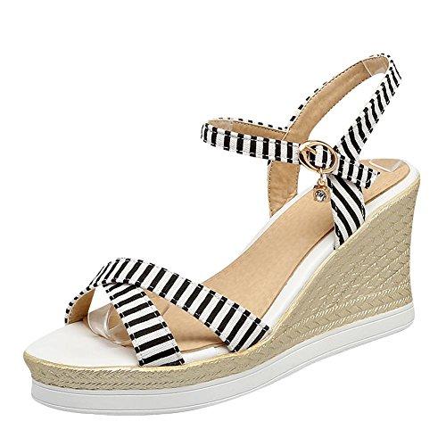 Mee Shoes Damen Schulart Keilabsatz Schnalle Sandalen Schwarz