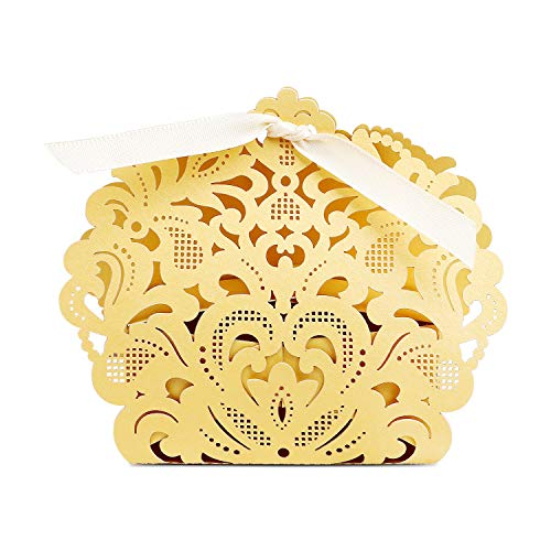 PONATIA 50pcs/Lot Laser Cut Favor Candy Box with Ribbons Bridal Shower Wedding Party Favors Gold Color