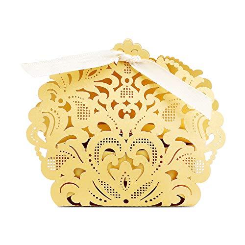 PONATIA 50pcs/Lot Laser Cut Favor Candy Box with Ribbons Bridal Shower Wedding Party Favors Gold Color ()