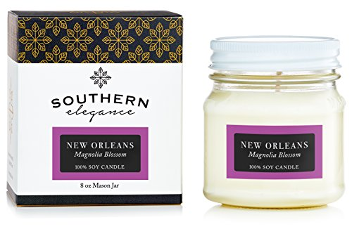 New Magnolia (New Orleans: Magnolia Blossom Scented Soy Candle 8oz Mason Jar Southern Destination Collection Southern Elegance Candles ~ Luxury Soy Candle ~ All natural soy candle)