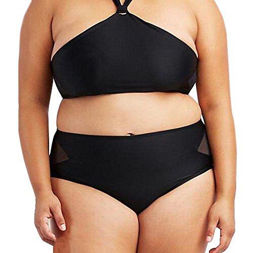 Styledresser Bikini Set Donna Plus Size Collo appeso Reggiseno Spiaggia Bikini Set Hollow Cava Out Costume da Bagno Con Schienale