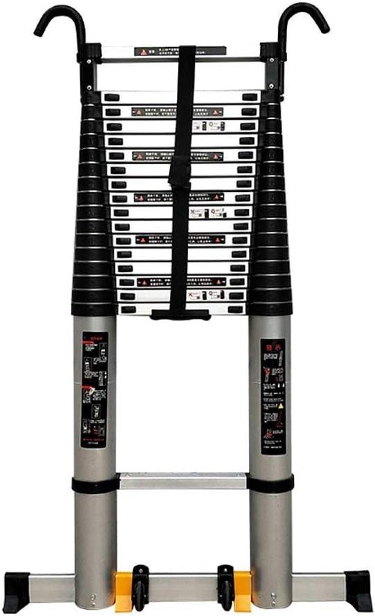 Escalera de mano Escalera telescópica de aluminio de 8 m / 26 pies con gancho y rueda fijos Extensión de desván plegable portátil Barra de estabilización de escalera extensible (Size :