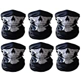 Motorcycle Face Masks (Pack of 6), Nuoxinus Black Seamless Skull Face Tube Mask, Ghosts Balaclava Half Face for Halloween Cosplay Outdoor Cycling Hiking Skiing Camping