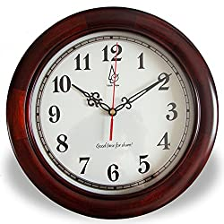 wall clock bracket clock System clock horologe horologium quartz clock crystalwall clock bracket clock crystal SystemSimple solid Basswood mute wall clock/ living room bedroom clock-A 12inch
