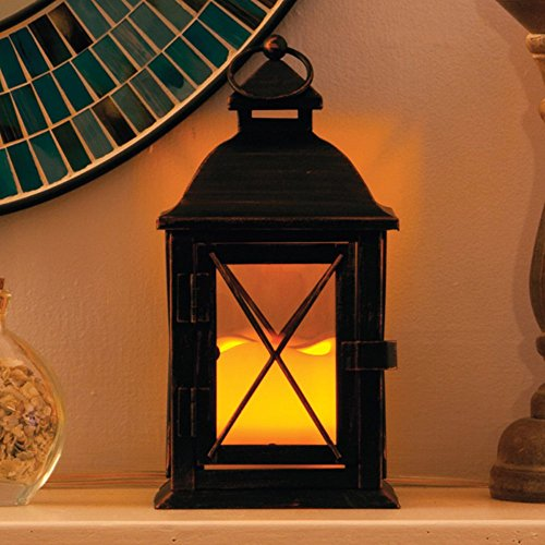 Smart-Design-STI84035LC-Aversa-Metal-Lantern-with-LED-Candle-with-Set-Timer-at-Desired-Time-to-Operate-Automatically-Includes-Realistic-Candle-Powered-by-One-Amber-LED