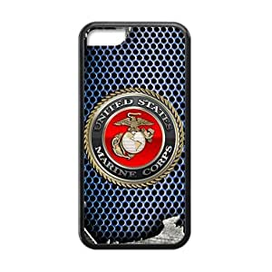 Fashionable Design USMC Marine Corps Metal Pattern Apple iphone 5C Plastic and TPU (Laser Technology) Case Cover WANGJING JINDA