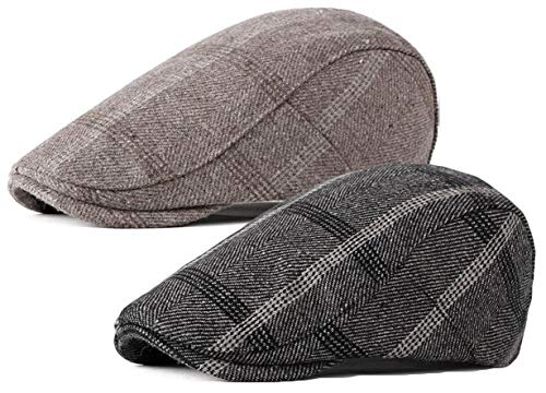Qunson 2 Pack Mens Tweed Wool Blend Flat Cap Ivy Gatsby Newsboy Hat