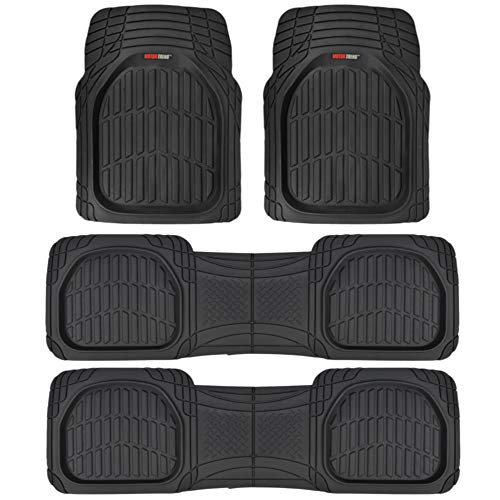 (Motor Trend MT-923-920 FlexTough Contour Liners-Deep Dish Heavy Duty Rubber Floor Mats for 3 Row Car SUV Truck & Van-All Weather Protection (Black), 3)