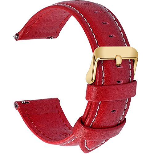 12 Colors for Quick Release Leather Watch Band, Fullmosa Axus Genuine Leather Watch Strap 18mm Red-GD