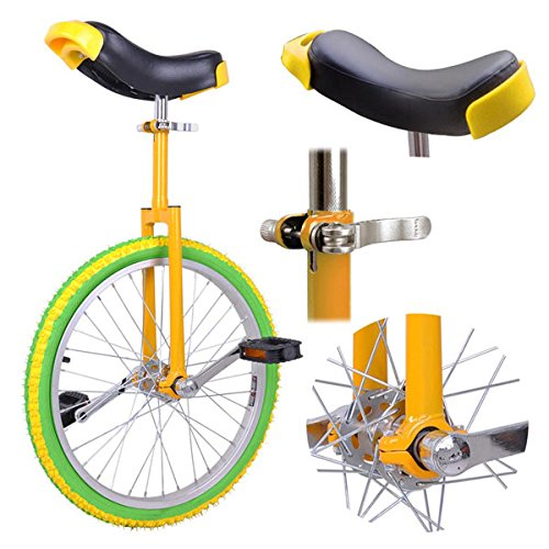 20'' in Colorized Wheel Uni-Cycle Skidproof Unicycle w Stand Cycling Yellow Green