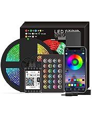 Staright Smart Wifi LED RGB Strip Lights IP65 à prova d'água 16,4 pés. Luzes que mudam de cor 5050 com voz e APP e 24 teclas de controle remoto Luzes de fita de decoração de Natal para festival de festas em