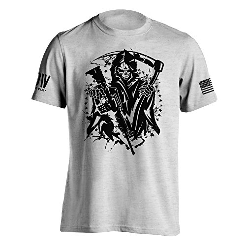 Flag Front Ash Grey T-shirt - Dion Wear American Grim Reaper Military T-Shirt XXX-Large Ash Grey