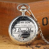 Classic to My Son Roman Numerals Silver Kids Quartz Pocket Watch with Chain