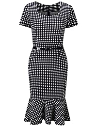 Bewish Womens Short Sleeve Houndstooth Bodycon Fishtail Swing Elastic Formal Dress