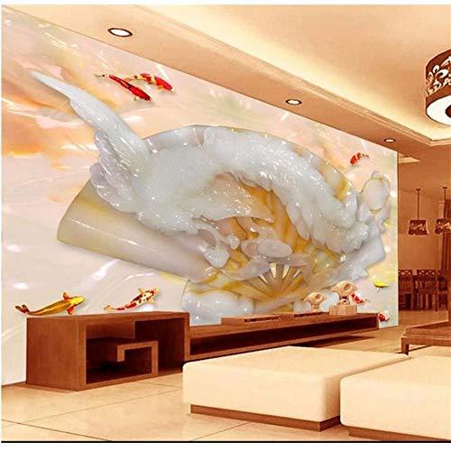 LSFHB 3D Room Wallpaper Custom Mural Non-Woven Wall Sticker 3D Jade Phoenix Painting Tv Background Wall Photo Wallpaper for Walls 3D-120X100Cm ()