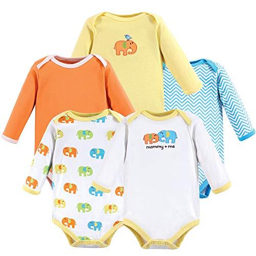 - Luvable Friends Unisex Baby Long Sleeve Cotton Bodysuits, Elephant 5 Pack, 18-24 Months (24M)