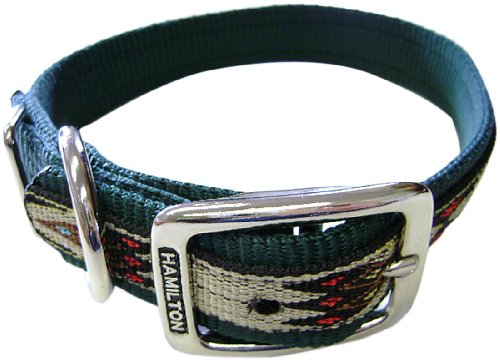 Hamilton 1-Inch Single Thick Nylon Deluxe Dog Collar, 24-Inch, Dark Green with Southwest Overlay ()