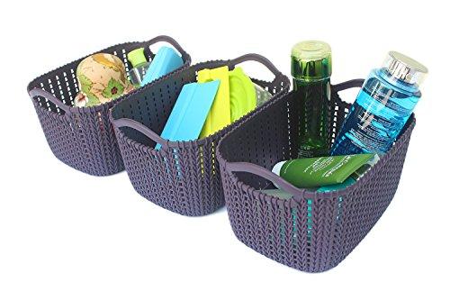 Weaving Rattan Plastic Storage Baskets/Bins Organizer with Handles,Set of 3,Deep Purple,Honla
