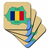 3dRose cst_39222_2 The Map and Flag of Romania with Romania Printed in Both English and Romanian-Soft Coasters, Set of 8
