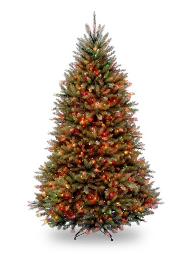 National Tree 7.5 Foot Dunhill Fir Tree with 750 Multicolor Lights, Hinged (DUH-75RLO)
