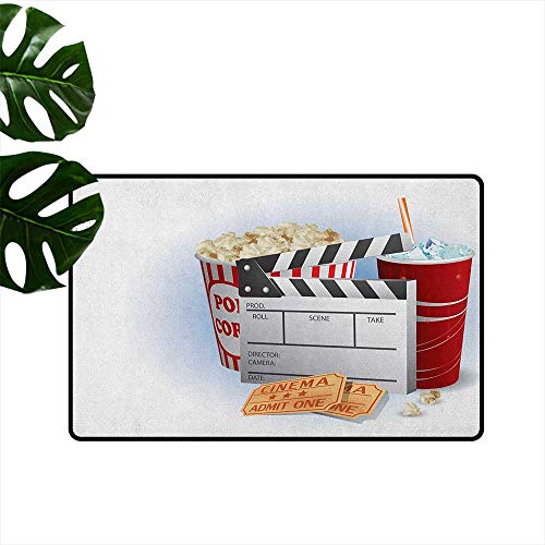 (Movie Theater Entrance Door mat Soda Tickets Fresh Popcorn and Clapper Board Blockbuster Premiere Cinema Hard and wear Resistant W29 x L39 Multicolor)