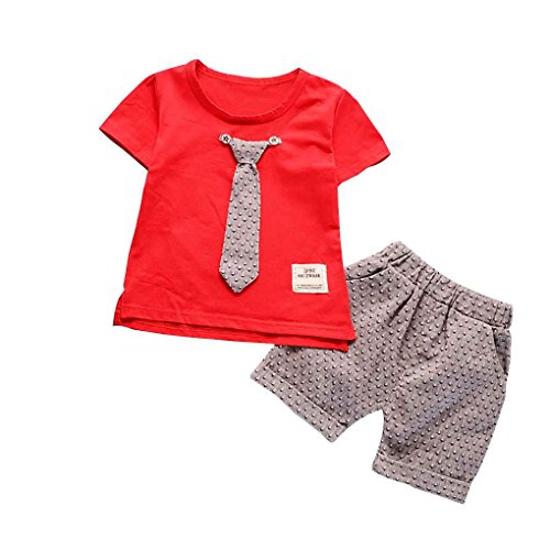 743746c1 Mengonee El bebé corbata manga corta camiseta pantalones Señores Traje del  verano del algodón Set Top