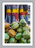 Pile of Coconuts, Bangalore, India by Ali Kabas / Danita Delimont Framed Art Print Wall Picture, Flat Silver Frame, 32 x 44 inches