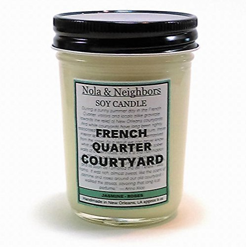 Jasmine and Rose scented soy candle, 50+ hour burn time. French Quarter Courtyard (Gal Cedar Oil)