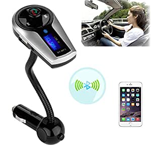 VersionTech Universal Bluetooth Wireless Car MP3 FM Transmitter Modulator Radio Adapter Handsfree Car Kit with Hands-Free Calling, Music Control, and Charging Port for iPhone 6 iPhone 6 Plus 5S 5 5C 4S 4 iPod, Android Smart Cell phone, MP3 Players and Other Devices