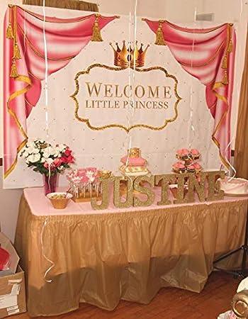 Cortina Rosa con diseño de Princesa Rosa y Fondo para la Ducha de bebé, con Corona Dorada y Fondo Blanco: Amazon.es: Electrónica
