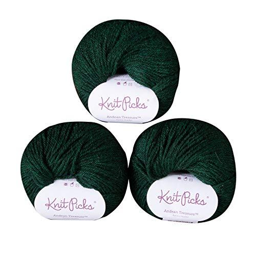 Knit Picks Andean Treasure Baby Alpaca Sport Weight Yarn - 3 Pack with Free Patterns (Aurora Heather)