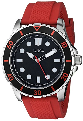 GUESS Men's U0245G6 Sporty Red Silicone Watch