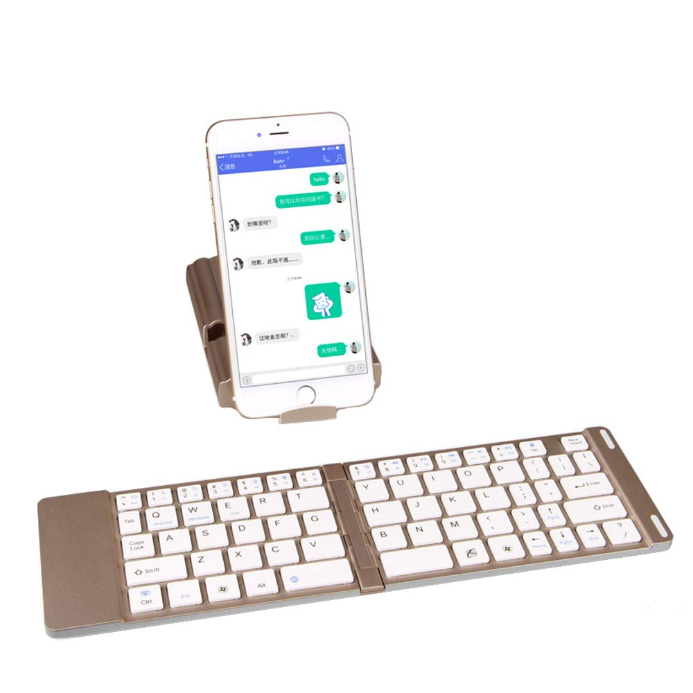 Ashey Foldable Bluetooth Keyboard, Lightweight and Portable Foldable Bluetooth Keyboard, Aluminum Metal Wireless Mini Keyboard for Tablet/iPad/iPhone 8 7 M Tablet Smartphone and More by Ashey