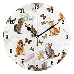 ZZKKO Kitten Cat Butterfly Wall Clock, Silent Non Ticking Battery Operated Easy to Read Decorative Wall Clock Kitchen Bedroom Bathroom Living Room Classroom