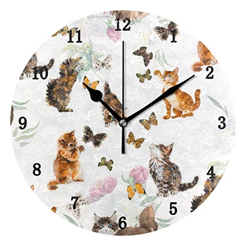 ZZKKO Kitten Cat and Butterfly Wall Clock, Silent Non Ticking Battery Operated Easy to Read Decorative Wall Clock for Kitchen Bedroom Bathroom Living Room Classroom