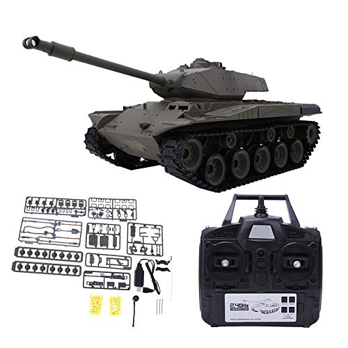 Remote Control Tank, 1:16 2.4GHz Crawler Vehicle Simulation Toy, USB Rechargeable RC Battle Tank Model with Rotating…
