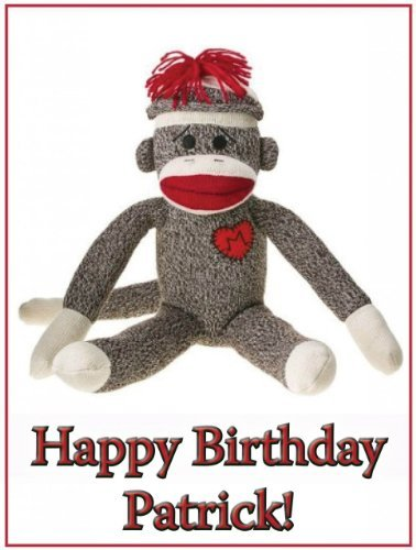 "Single Source Party Supply - Sock Monkey Edible Icing Image #2-8.25"" Round"