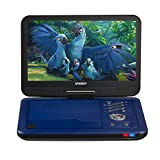"SYNAGY 12"" Portable DVD Player with 10.1'' Swivel Screen Remote Control Rechargeable Battery Car Charger Wall Charger, Personal DVD Player (Blue)"