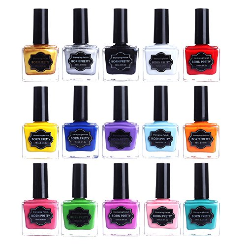 BORN PRETTY 15ml Nail Art Stamping Polish Colorful Sweet Candy Style Image Template Printing Polish Lacquer 15 Colors (Color Image Printing)